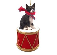 CHIHUAHUA BLACK w/ DRUM DOG CHRISTMAS ORNAMENT HOLIDAY XMAS Figurine Sca... - $15.75