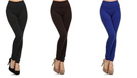 ICONOFLASH Women's Heavy Weight High Waist Fleece Leggings, (3-Pack, New... - $22.76