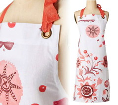Anthropologie Moon Blooms Apron Pink + Red Mom Wedding Hostess Holiday G... - £20.81 GBP