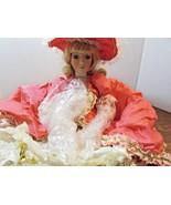 "Fine porcelain 18"" Illuminated lamp doll blonde hair   victorian dress - $31.19"