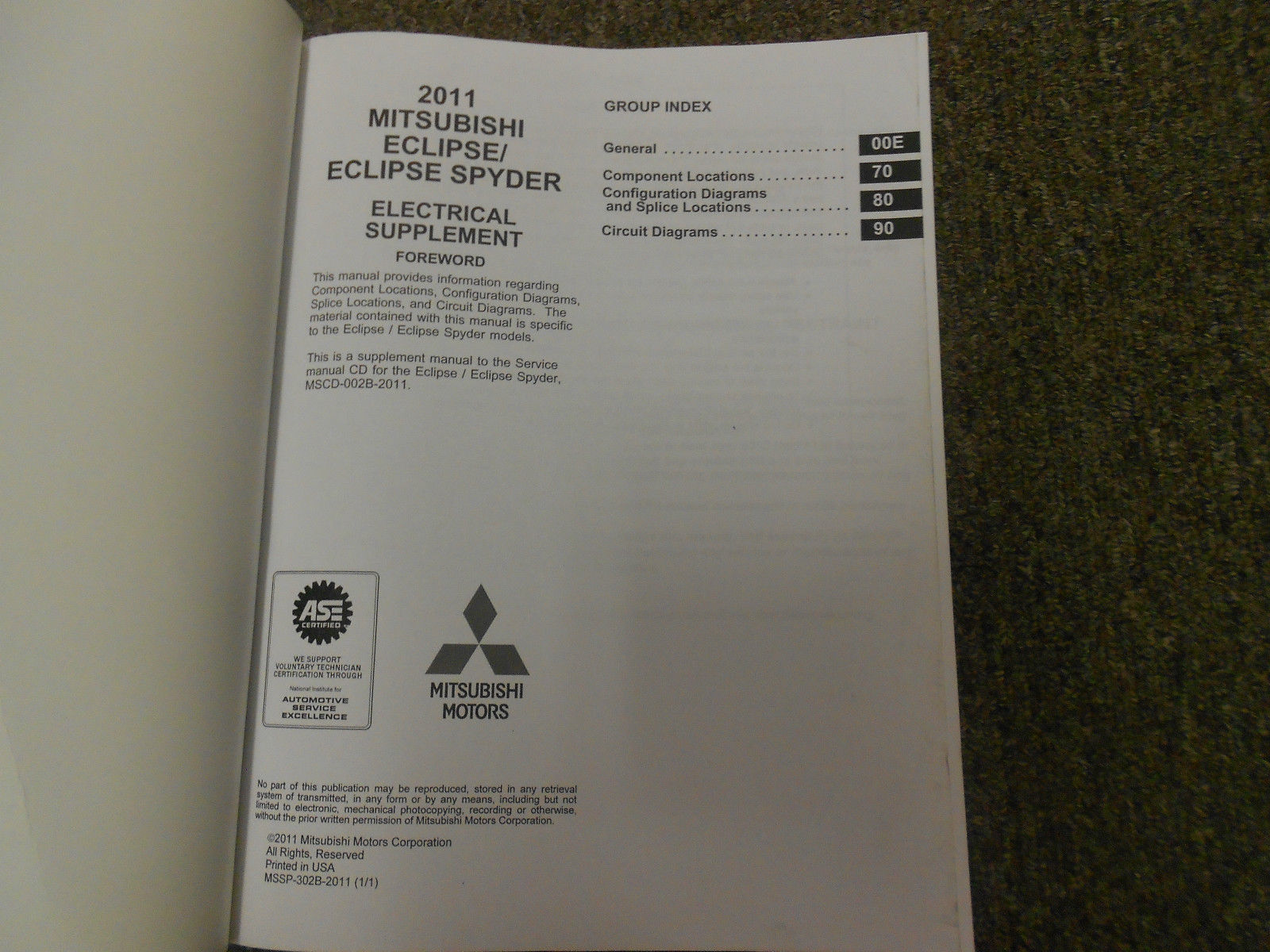 2011 MITSUBISHI Eclipse Spyder Electrical Supplement Service Repair Manual OEM