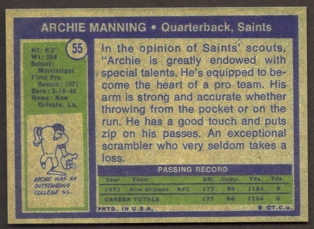 ARCHIE MANNING Rookie Card RP #55 RC Saints 1972 T Free Shipping