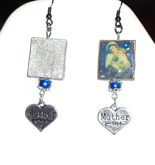 Mothers Day or new mom-to-be - Beaded blue pearl MOTHER dangle charms. scrabble