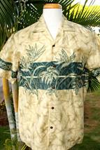 Beige Crackled Hawaiian Bird of Paradise Men Aloha Shirt ~ MADE IN HAWAII - $26.72+