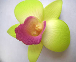 Hawaii Bridal Wedding Party Orchid Flower Hair Clip ~ GREEN w/ PURPLE (Q... - €8,85 EUR