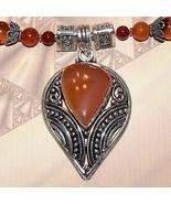 Ornate Sterling Silver Handmade Carnelian Necklace OOAK - $125.00
