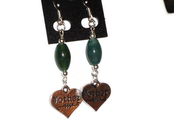 Mothers Day gift - Beaded green/blue Multicolor Agate earrings with MOTHER dangl