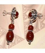 Ornate Sterling Silver Handmade Carnelian Earrings OOAK - $25.00