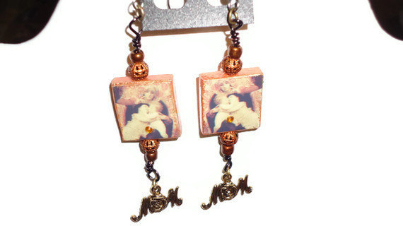 Mothers Day gift - scrabble tile altered art. Gold mom dangle. mother and childr