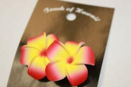 "Hawaii Bridal Wedding 1.75"" Flower Hair Clip Orange Yellow Plumeria ~Set... - €7,90 EUR"