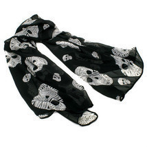 NEW BLACK PINK RED DIAMOND SKULL SCARF PUNK GOTH ROCK WINTER NECK WRAP #... - $19.89 CAD