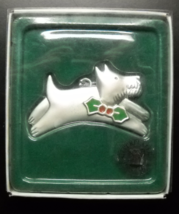 Russ Berrie Christmas Ornament Wags To Whiskers Scottie and Holly Pewter... - $9.99