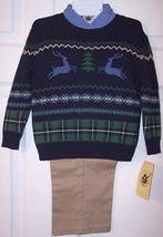 NWT Good Lad Boy's 3 Pc. Christmas Holiday Reindeer Sweater Set Outfit, ... - $18.99