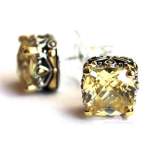 10mm Throne Room Checker Cut Cubic Zirconia Canary Yellow Cz Post Earrings - $53.10