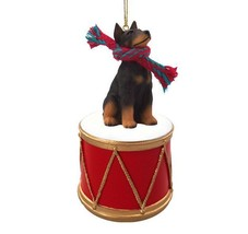 DOBERMAN BLACK w/ DRUM DOG CHRISTMAS ORNAMENT HOLIDAY Figurine Scarf gift - $15.75