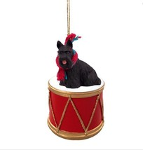 SCOTTIE SCOTTISH TERRIER DRUM DOG CHRISTMAS ORNAMENT HOLIDAY Figurine Sc... - $15.75