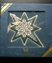Wedgwood Christmas Ornament Baroque Star Spruce Green with Gold Original... - $12.99