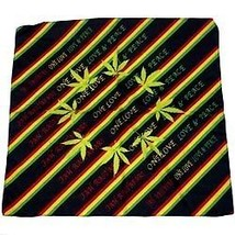 NEW PUNK BIKER HANDKERCHIEF HEAD WRAP SCARF ~ RASTA STRIPED LEAVES BANDA... - $5.29 CAD