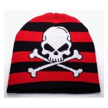 NEW PUNK ROCK WINTER HAT CAP ~ BLACK & RED STRIPES SKULL CROSSBONES BEAN... - $5.96 CAD