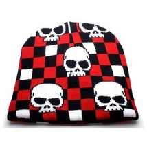 NEW PUNK ROCK WINTER SNOWBOARDING HAT ~ BLACK RED CHECKERS W/ SKULL BEAN... - $8.53 CAD
