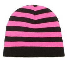 NEW PUNK ROCK WINTER SKI SNOWBOARDING HAT CAP ~ PINK BLACK STRIPES BEANI... - $5.90 CAD