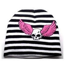 NEW PUNK ROCKER WINTER HAT BLACK WHITE STRIPE & SKULL W/ PINK WINGS BEAN... - $5.96 CAD