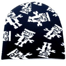 NEW PUNK ROCK WINTER SKI SNOWBOARDING HAT CAP ~ BLACK WHITE ROBOTS BEANI... - $5.90 CAD