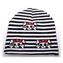 NEW PUNK WINTER SKI SNOWBOARDING HAT ~ BLACK WHITE STRIPES SKULLS BEANIE... - ₹316.47 INR