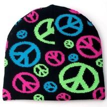 NEW PUNK WINTER HAT SKI CAP ~ BLACK W/ NEON COLORFUL PEACE SIGNS BEANIE ... - ₹319.31 INR