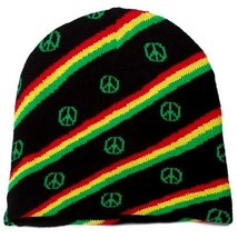 NEW PUNK WINTER SKI SNOWBOARDING HAT CAP ~ RASTA REGGAE PEACE SIGN BEANI... - $9.18 CAD