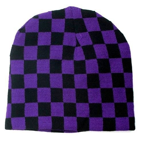 Punk Winter Ski Snowboarding Unisex Hat Cap ~ Purple Black Checkrs Beanie #FT165