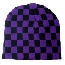 Punk Winter Ski Snowboarding Unisex Hat Cap ~ Purple Black Checkrs Beani... - $7.22 CAD