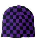 Punk Winter Ski Snowboarding Unisex Hat Cap ~ Purple Black Checkrs Beani... - £4.21 GBP