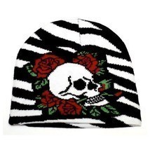 NEW PUNK WINTER SKI SNOWBOARDING HAT CAP ~ ZEBRA PRINT SKULL ROSES BEANI... - ₹324.36 INR