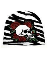 NEW PUNK WINTER SKI SNOWBOARDING HAT CAP ~ ZEBRA PRINT SKULL ROSES BEANI... - $4.45