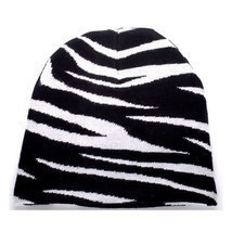 NEW PUNK WINTER SKI SNOWBOARDING HAT CAP ~ BLACK WHITE ZEBRA PRINT BEANI... - $5.96 CAD