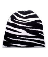 NEW PUNK WINTER SKI SNOWBOARDING HAT CAP ~ BLACK WHITE ZEBRA PRINT BEANI... - £3.39 GBP