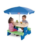 Kids Picnic Table Umbrella Covered Play Station... - $98.49