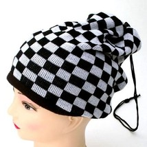 NEW WINTER KNITTED HAT CAP SCARF BEANIE W/ PULL STRING BLACK WHT CHECKER... - $4.59 CAD