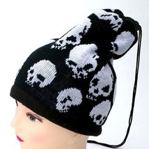 Winter Knitted Hat Cap Unisex Beanie w/ Pull String Black White Skulls C... - $8.53 CAD