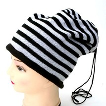 NEW WINTER KNITTED HAT CAP SCARF BEANIE W/ PULL STRING BLACK WHITE STRIP... - $4.63 CAD