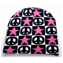 NEW WINTER SKI HAT KNIT CAP BLACK WHITE CHECKERS PEACE SIGNS STARS BEANI... - $5.96 CAD