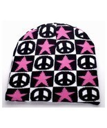 NEW WINTER SKI HAT KNIT CAP BLACK WHITE CHECKERS PEACE SIGNS STARS BEANI... - £3.48 GBP