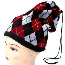 NEW WINTER KNITTED HAT CAP SCARF BEANIE W/PULL STRING ~ RED BLACK PLAID ... - $4.59 CAD