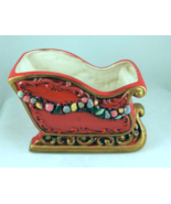 Vintage Napco red ceramic Christmas sleigh plan... - $22.00