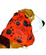 Red Black Swirled and Solid Paw Prints Fleece Dog Snood Size Small - $11.50