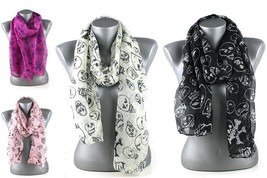 "New Animated Skull Winter Fashion Scarf Pink Black White Fuchsia 14.5 x""... - $10.60 CAD"