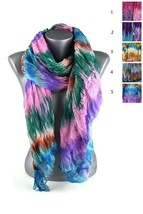 New 60s Retro Psychedelic Tie Dye Wrinkled Hippy Winter Fashion Scarves IW - $11.93 CAD
