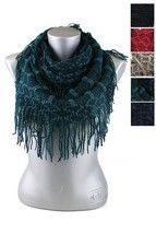 New Knitted Infinity Winter Fashion Scarf Tassels Navy Olive Teal #AACG0... - $11.93 CAD