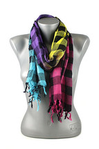 "New Multi-Color Plaid Checker Print Winter Scarf Purple Pink Yellow 19"" ... - $11.40 CAD"